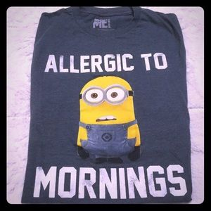 Allergic to mornings Minion tee despicable me